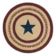 """Country Primitive Potomac Star Braided Candle Table Mat 13"""" Round Jute Placemat"""