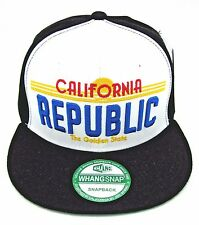CALIFORNIA REPUBLIC Snapback Cap Hat CALI License Plate Caps Hats Black White
