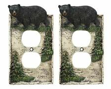 Set of 2 Rustic Pine Trees Black Bear Double Electrical Outlet Plate Covers