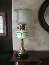 """Oil lamp Victorian Green painted font $ shade stone base 25"""" tall brass stem OL1"""