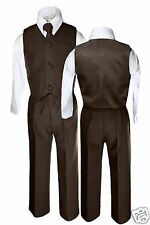Baby Toddler Boys Formal Wedding Vest Necktie Suits Sets Outfits Brown Size S-7