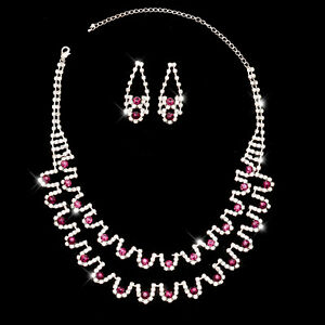 Schmuckset Collier mit Ohrringe Brautschmuck Halskette Lila Silberfarben Schmuck