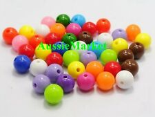 100 x resin round beads mixed pastel colours 8mm children girl jewellery making