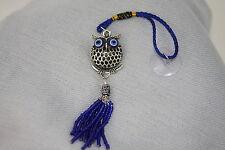 Evil Eye Owl Lucky Charm Protection Blue Tassel Mirror Hanger Feng Shui