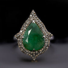 4.5ctw NATURAL EMERALD DIAMOND COCKTAIL RING GREEN PEAR SHAPE DOUBLE HALO BIG