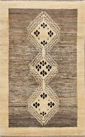 Tribal Geometric Gabbeh Wool Area Rug Hand-knotted Oriental Carpet Kitchen 3x5