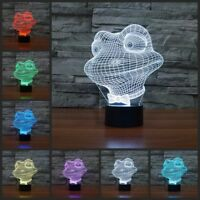 Cartoon frog 3D illusion led touch desk table night light lamp kids home lights