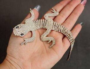 Large Vintage Butler & Wilson Articulated Rhinestone Lizard Brooch Pin, NR