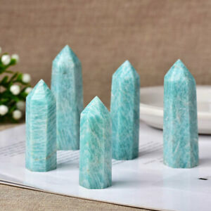 Natural Amazonite Tower Quartz Crystal Point Wand Specimen Reiki Healing Decor