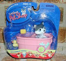 Littlest Pet Shop Black, gray & White HUSKY in tub 210 VHTF 2006