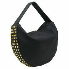 Muche et Muchette Black GOLD Studded Vegan FAUX Leather HOBO BAG, NWT CHIC