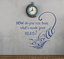 Alice in Wonderland Wall Decal Cheshire Cat Quote Vinyl Stickers Home Decor FD94