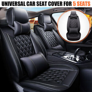 5 Seats Car Seat Cover Front Rear Full Set Deluxe PU Leather Cushion Universal