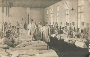 1916 WWI VINTAGE REAL PHOTO SOLDIER'S WARD in MILITARY HOSPITAL AUSTRIA POSTCARD
