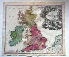 GRANDE-BRETAGNE ANGLETERRE ECOSSE IRLANDE Vintage Map  circa 1720  HOMANN