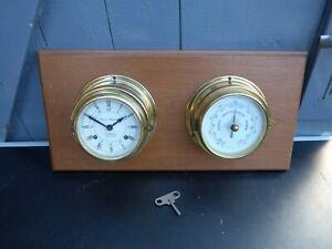 Vintage Peweta Hamburg Glasenuhr Schiffsuhr Wetterstation Barometer Uhr