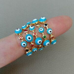 Blue Enamel Turkish evil eye jewelry ring Gold color rainbow cz women rings