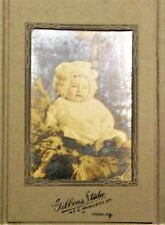 Antique gelatin silver? photo from late 1890s portrait of Wealthy Baby w/ card