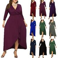 Womens V-Neck Swing Maxi Wrap Dress Cocktail Evening Party Prom Gown Plus Size
