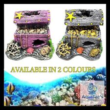 AQUARIUM FISH TANK TREASURE CHEST DECORATION 10CM ORNAMENT AQUA MARINE WATER