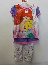 GIRLS SIZE 4T DISNEY LITTLE MERMAID 3 PC PAJAMAS PANTS SHORTS TOP NEW NWT 382^