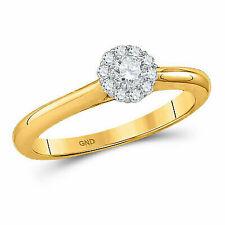14k Yellow Gold Round Diamond Solitaire Bridal Wedding Engagement Ring 1/4 Ctw