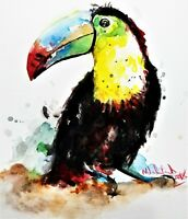 Toucan Painting on Canvas - Watercolor Giclee Art Bird Animal Wildlife 12X18