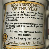 BEST GRANDMOTHER OF THE YEAR Coffee Tea Cup Mug 1986 QUOTE CERTIFICATE #1