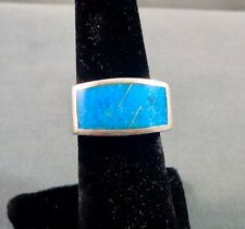 Beautiful Vintage GL MILLER Turquoise Sterling Silver Heavy Ring Size 8 Signed