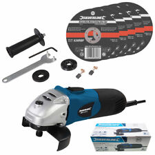"""Silverline Angle Grinder Kit with 5 x 115mm 4.5"""" Flat Metal Cutting Discs 240V"""