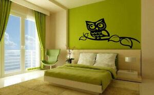 Gift Wall Vinyl Sticker Decals Mural Design Owl Bird On The Branch Tree #543