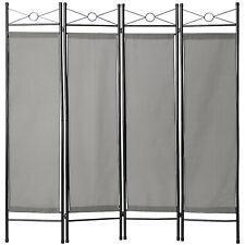 4tlg Raumteiler Trennwand Paravent Umkleide Sichtschutz Spanische Wand Grau