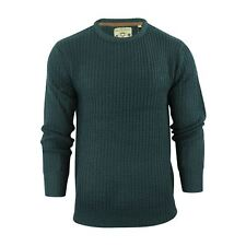 Mens Jumper Brave Soul Binary Fisherman Knitted Crew Neck Sweater Petrol Large