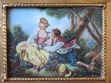 Ancienne miniature peinte signé MARTIN d'après l'Automne de Boucher Old painting