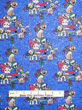 Christmas Fabric - Puppy Dogs Tree Angel Silver Glitter Fabric Traditions - Yard