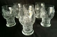 6 Antique Ornate Hand Blown Glass Floral Chalises Tumblers Glasses Glassware