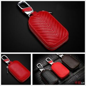 Universal for Car SUV Red Genuine Leather Key Holder Key Purse Bag Smooth Zipper