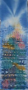 Fish Boat Painting Double Process Batik Art Abstract fine quality.
