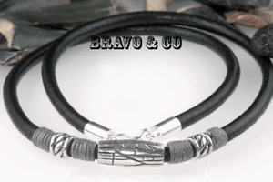 7N-373 GENUINE Solid Sterling Silver & Leather New Choker Men Necklace