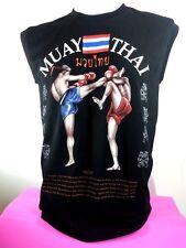 Muay Thai Boxing Men Vest Black Color Size L Sleeveless Art T Shirt Cotton 100%