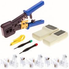 Cat6 RJ45 Network Modular Plug Connector Crimp Tool End Pass Through Tester Kit