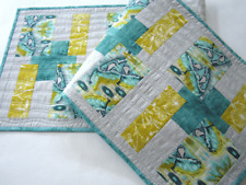 Table Runner Modern Contemporary Handmade Table Linen Cotton Gray, Gold and Teal