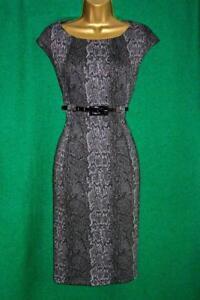 New CALVIN KLEIN Uk 12 Grey SnakePrintSoft Stretch Jersey Midi Work Office Dress