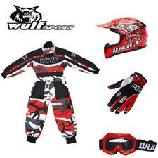Wulf Kids Flite Motorcross Helmet Gloves Goggles Camo Suit Red Dirt Bike Quad