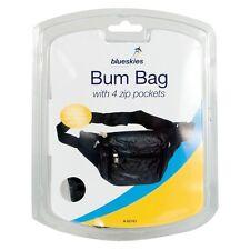 Negro Bum Bag con 4 bolsillos con cremallera Caja de seguridad el dinero de viaje-Nuevo