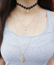 Layered Gold Feather Charm Necklace, Triangle, Black Flower Lace Choker