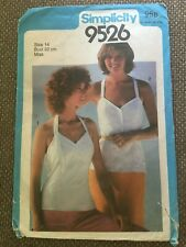 Simplicity Sewing Pattern Misses Fitted Camisoles Size 14