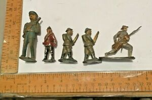 Vintage Metal/Cast Iron Toy Soldier Lot of 5 WWI WWII British & More See Images