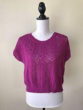 MOTH M Womens Plum Purple Crochet Loose Knit Boxy Sweater Top Anthropologie