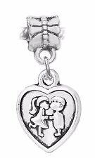 Boy Girl Kissing Heart Couple Childhood Sweethearts Charm for European Bracelets